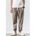 Men's Summer Fashion Simple Plain Drawstring Waist Elastic Cuffs Casual Loose Linen Tapered Pants