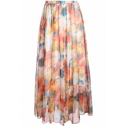 Womens Summer Boho Style Pink Floral Printed Elastic Waist Maxi Pleated Flared Skirt