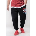 Men's Stylish Boxing Shark Letter Printed Black Drawstring Waist Casual Sweatpants