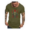 Funny Unique Skull Pattern Mens Round Neck Short Sleeve Fitted T-Shirt