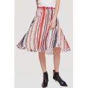 Womens Fashion Holiday Boho Style Colorful Stripe Print Chiffon Midi A-Line Beach Skirt
