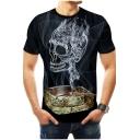 Summer Funny Ashtray Smog Skull Print Round Neck Short Sleeve Black Tee