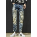 Men's Cool Fashion Camouflage Patch Vintage Snow Washed Blue Regular Fit Casual Jeans