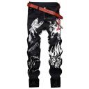 Men's Fashion Cool Animal Printed Night Club Black Casual Jeans