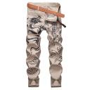 Men's Trendy Cool Dragon Printed Khaki Casual Cotton Jeans
