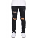 Popular Fashion Solid Color Knee Cut Frayed Ripped Slim Fit Stylish Jeans for Men