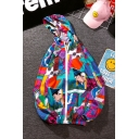Guys Summer Cool Street Fashion Cartoon Colorful Print Zip Front Hooded Sun Protection Lightweight Jacket