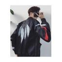 Guys Popular Fashion Feather Dream Catcher Print Back Stand Collar Zip Up Baseball Jacket