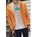 Guys Summer Hot Popular Simple Plain Candy Color Long Sleeve Zip Up Hooded Sun Protection Skin Jacket