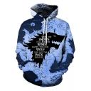 Trendy Blue Map Wolf Head Printed Long Sleeve Unisex Loose Fit Hoodie
