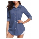 Womens Fashion Classic Plain Blue Long Sleeve Button Down Casual Chambray Shirt
