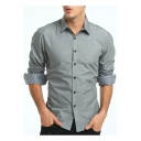 Mens Fashion Simple Solid Color Long Sleeve Slim Button Down Business Shirt
