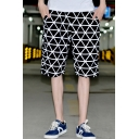 Men's Summer Trendy Geometric Printed Casual Loose Comfortable Black Cotton Shorts
