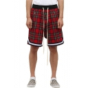 Men's Summer New Fashion Scottish style Retro Plaid Pattern Contrast Stripe Hem Drawstring Waist Zipped Pocket Casual Loose Active Shorts