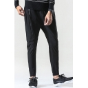 Men's New Stylish Zip Embellished Simple Plain Black Casual Sweatpants