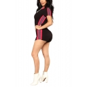 Womens Fancy Hot Stylish Black Zip-Front Striped Side Short Sleeve Romper