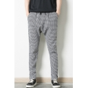 Men's New Stylish Plaid Pattern Drawstring Waist Zipped Cuffs Low Crotch Casual Hip Pop Pencil Pants