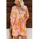Summer Hot Fashion Geometric Print Drawstring Waist Button Front V-Neck Bell Sleeves Holiday Romper