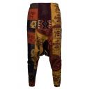 National Style Unique Printed Loose Fit Baggy Drop-Crotch Cotton Linen Harem Pants