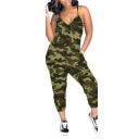 Womens Hot Stylish Camouflage Plunge V Neck Straps Casual Slouchy Jumpsuit