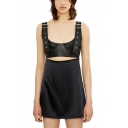 Girls Cool Street Style Studded Straps Sleeveless Cutout Front Mini Black A-Line Dress