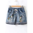 Womens Chic Floral Embroidery Drawstring Waist Ripped Rolled Cuff Casual Denim Shorts
