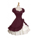 Vintage Medieval Lolita Square Neck Puff Short Sleeve Midi Layered Fit and Flared Swing Dress