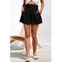 Womens Hot Popular Paperbag Waist Simple Plain Loose Casual Shorts