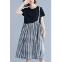 Womens Fashion Fake Two-Piece Plaid Print Round Neck Short Sleeve Midi Swing Dress