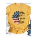 Summer Unique Cool Letter Flag Sunflower Print Round Neck Short Sleeve Yellow Tee