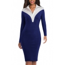 Womens Fashion Lapel Collar Long Sleeve Office Midi Pencil Shirt Dress