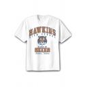 Hawkins High School Letter Tiger Print Short Sleeve White Tee