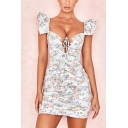 Womens Chic White Floral Printed Lace-Up V Neck Ruffled Sleeve Mini Bodycon Dress
