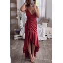 Fancy Simple Plain Surplice V-Neck Sleeveless Ruffled Maxi Cami Wrap Dress