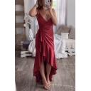 Fancy Simple Plain Surplice V-Neck Sleeveless Ruffled Maxi Cami Wrap Dress