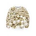 Stylish White 3D Pearl Pattern Round Neck Long Sleeve Pullover Sweatshirt
