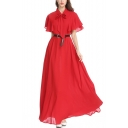 Womens Boutique Bow-Tied Collar Flutter Sleeve Plain Maxi Holiday Chiffon Dress