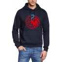 Popular Dragon Logo Print Long Sleeve Casual Loose Fitted Hoodie