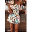 Summer White Floral Print Strapless Ruffle Trim Sleeves Beach Rompers