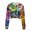 Fancy Colorful Geometric Printed Long Sleeve Cropped Drawstring Hoodie