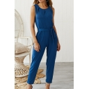 Women's New Plain Scoop Neck Sleeveless Tie Waist Casual Jumpsuits