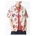 Mens Vintage Pattern Lapel Collar Short Sleeve Holiday Camp Shirt