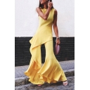 Womens Hot Trendy Scoop Collar Sleeveless Yellow Ruffle Trimmed Flare Long Pants Fitted Jumpsuits
