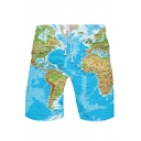 Summer New Stylish WORLD MAP Printed Drawstring Waist Casual Beach Sports Sweat Shorts