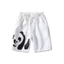 Summer New Fashion Cartoon Panda Printed Drawstring Waist Casual Relaxed Shorts