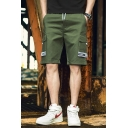 Men's Summer New Fashion Letter Ribbon Patched Drawstring Waist Casual Cotton Cargo Shorts with Side Pockets