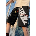 Guys Street Style Fashion Letter Printed Zipper Metal Ring Embellished Black Cotton Drawstring Waist Relaxed Sweat Shorts
