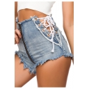 Womens Sexy Light Blue Zipper-Fly Hollow Lace-Up Side Nightclub Denim Shorts Hot Pants