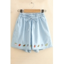Girls Cute Cartoon Fruit Embroidery Tied Elastic Waist Blue Loose Denim Shorts