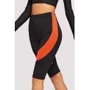 Womens Hot Popular Color Block Elastic Waist Half Yoga Slim Fit Cycling Shorts